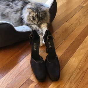 Tom Ford Gucci Vintage Fur Ankle Strap Pumps 9.5